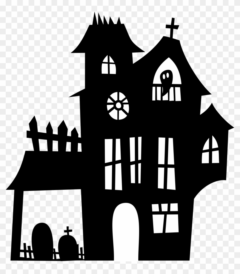 image relating to Haunted House Printable titled Haunted Household Silhouette Png - Printable Haunted Place