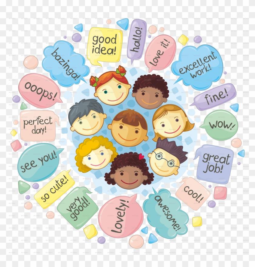 Cartoon Children's Spoken English Speech Bubble Vector - Children