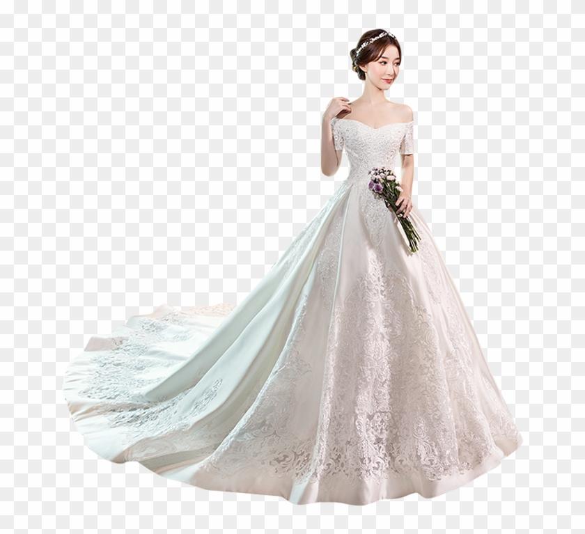 Wedding Dress 2018 New Word Shoulder Korean Fashion Korean Satin Wedding Dresses Hd Png Download 800x800 2271128 Pngfind