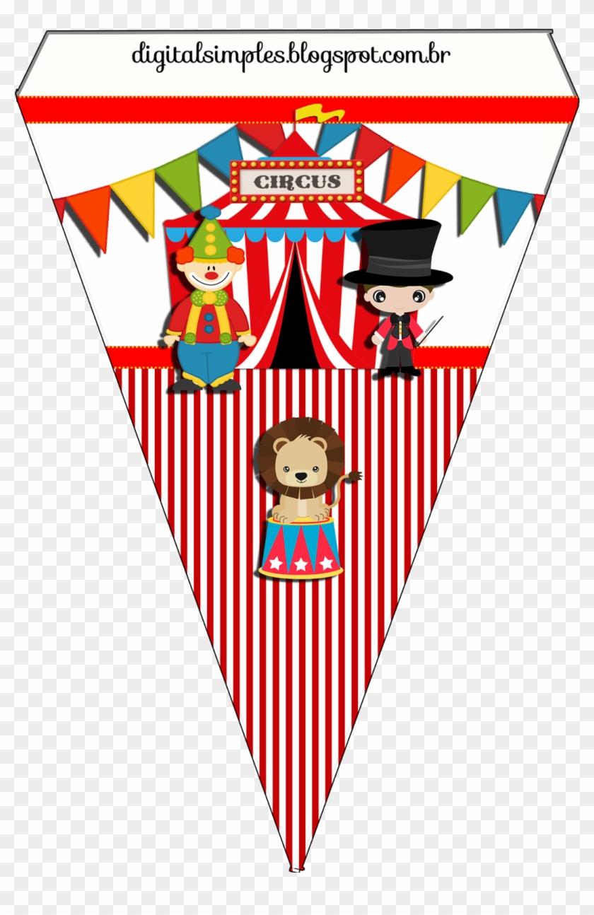 Kit De Personalizados Tema Circo Para Imprimir Bandeirinhas Tema