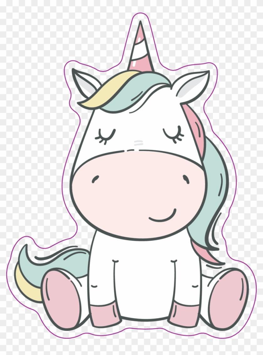 Unicorn adorable. Clipart pink kawaii stickers