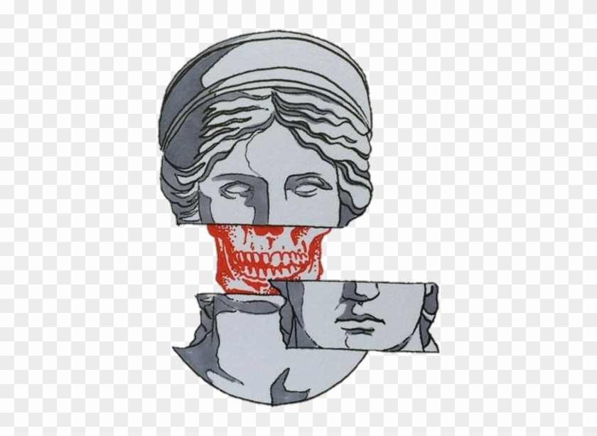 Skull Statue Aesthetic Tumblr Edit Png Gray