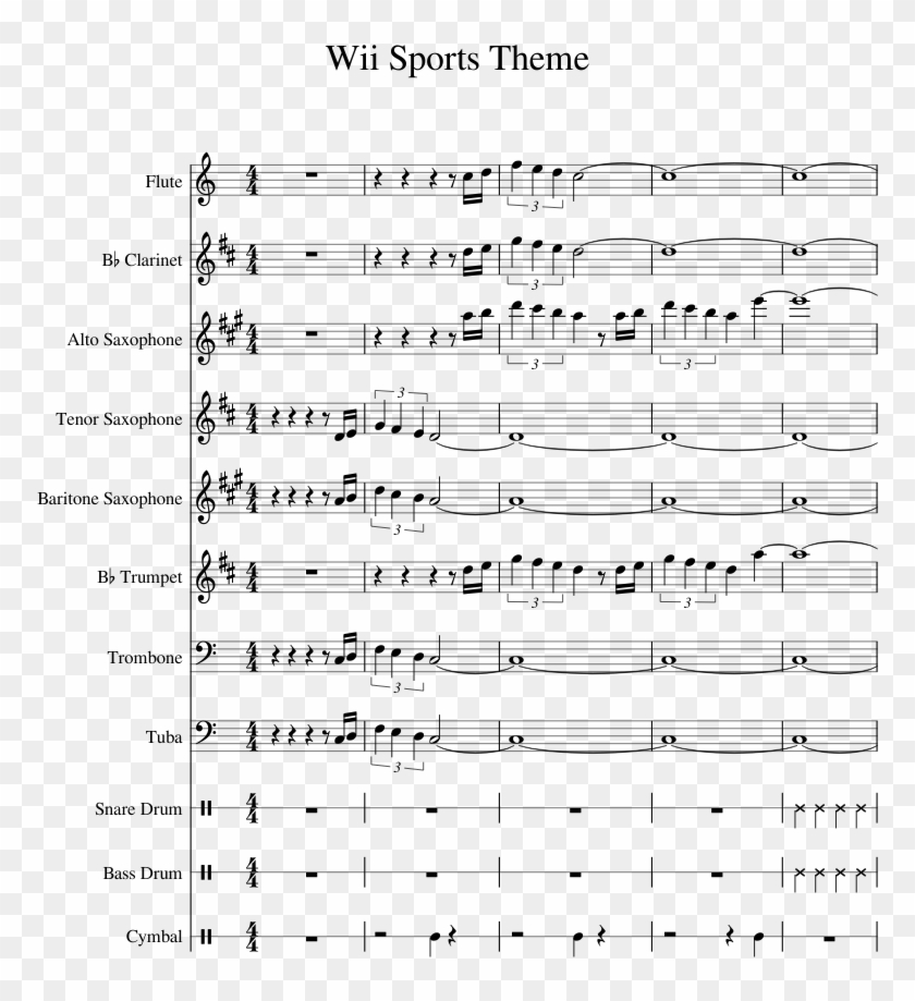 Wii Sports Theme Sheet Music For Flute Clarinet Alto - Wii Theme