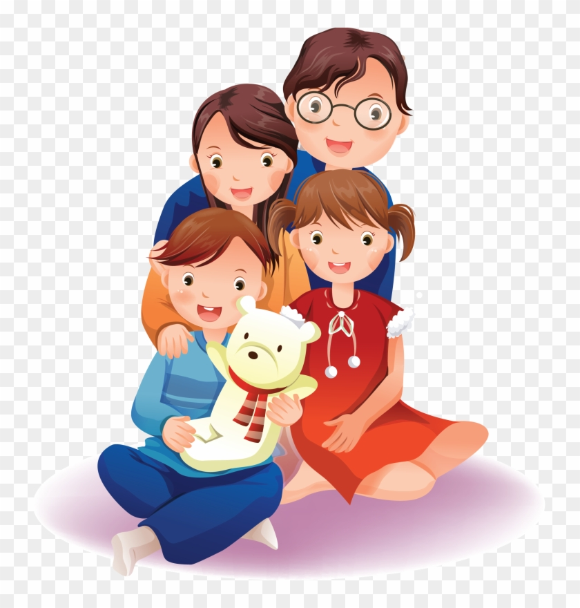 Familia Family Cartoon Of 4 Two Daughters Hd Png Download 744x800 2429231 Pngfind