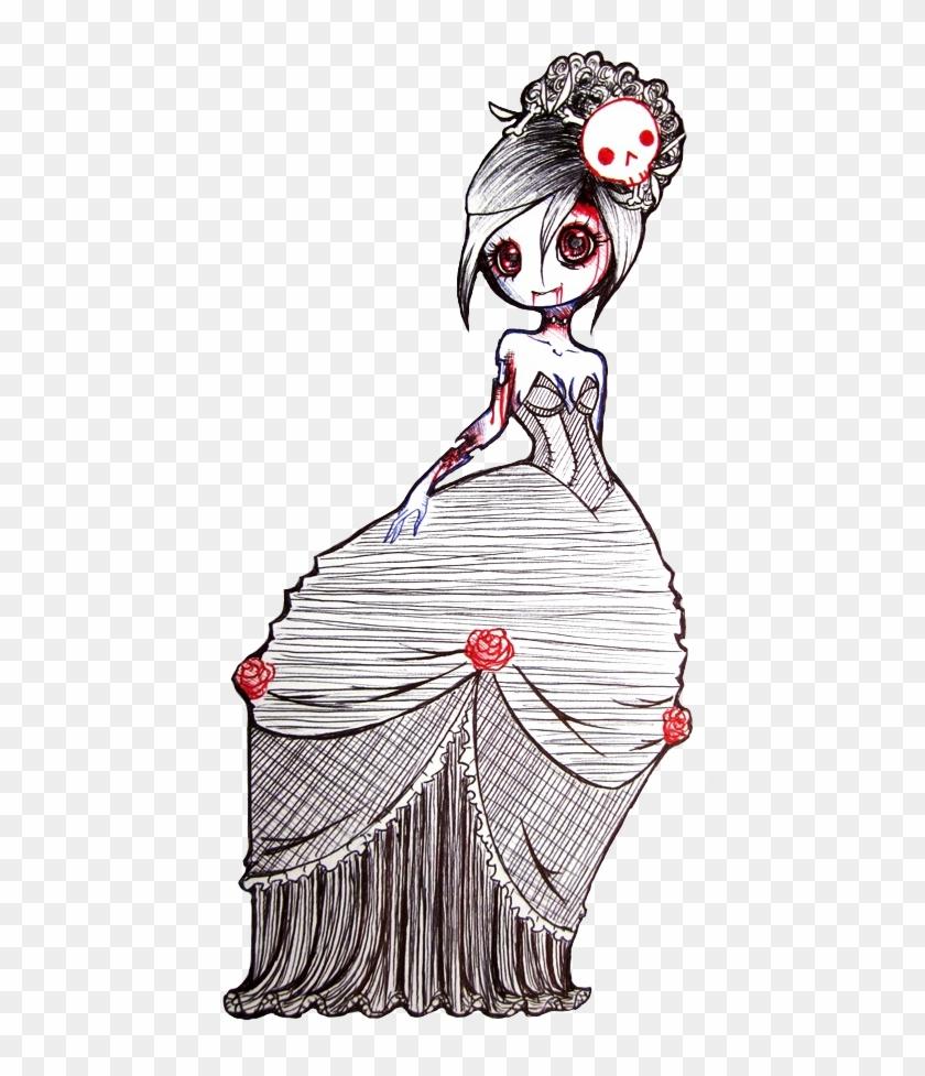 Drawn Zombie Pretty Zombie - Cute Zombie Girl Drawing, HD Png