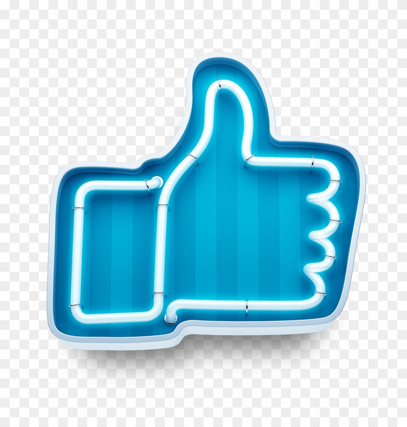 Facebook Logo Transparent Png - Neon Button Like, Png Download