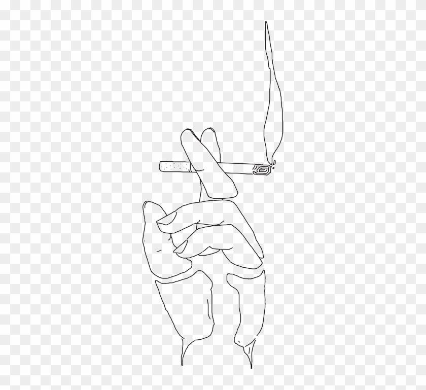 Drawn Smoke Cigarette Smoke - Line Drawing Of Hand With