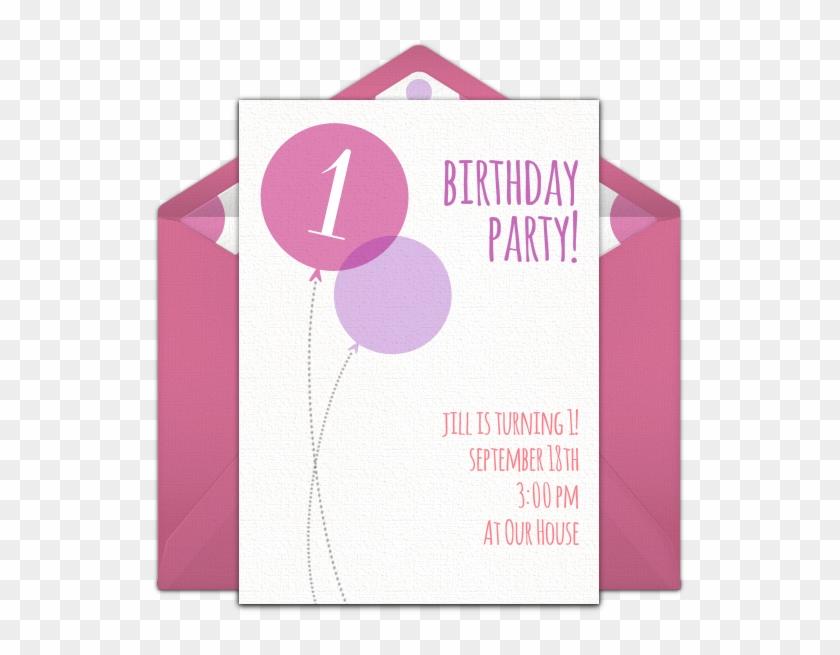 Pink Milestone First Birthday Online Invitation
