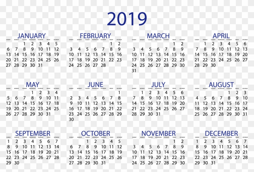 graphic relating to Printable 12 Month Calendar known as 2019 Calendar year Calendar Template Down load - Printable 12 Thirty day period