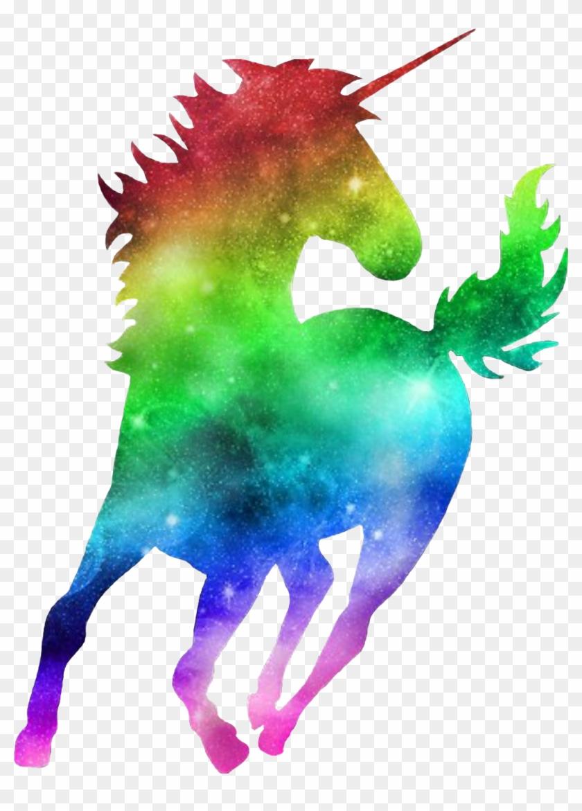 Galaxy colorful. Colourful silhouette unicorn rainbow