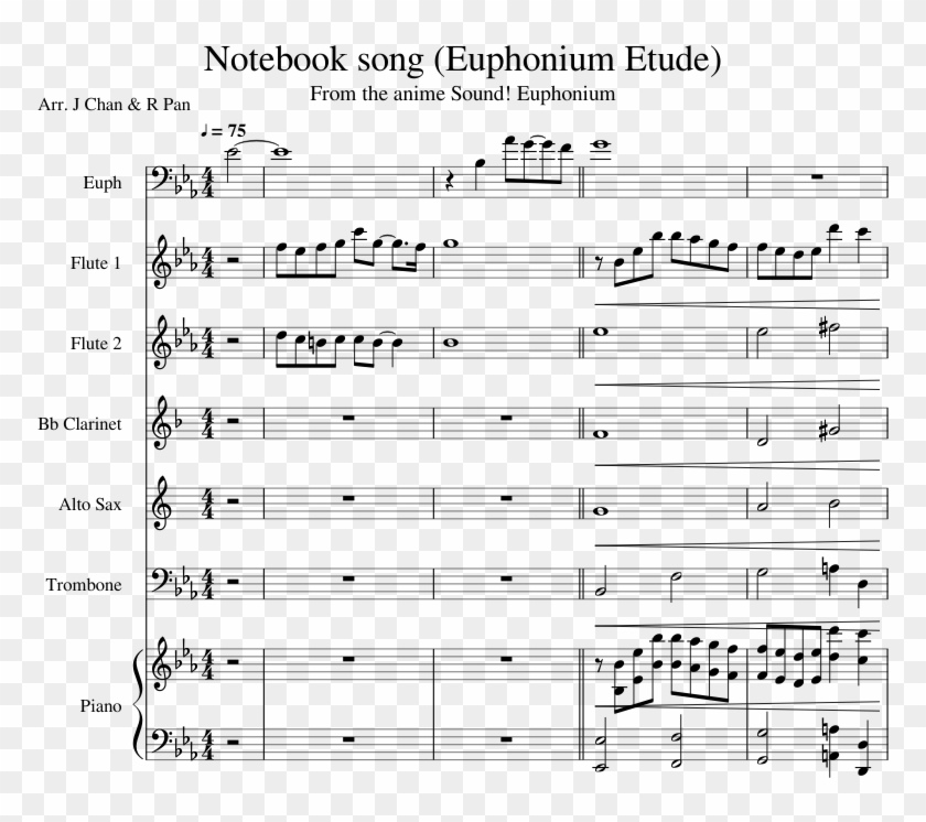 Notebook Song - Sheet Music, HD Png Download - 850x1100