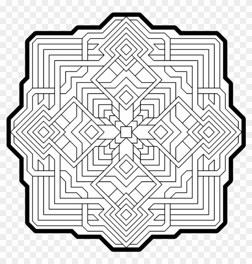 - Geometric Pattern Coloring Pages For Adults Photo - Mandala Passo A Passo,  HD Png Download - 1000x1000(#2681322) - PngFind