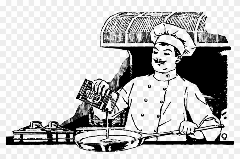 This Free Icons Png Design Of Chef Cooking Chef Cooking Clipart Black And White Transparent Png 2202x1357 2750990 Pngfind