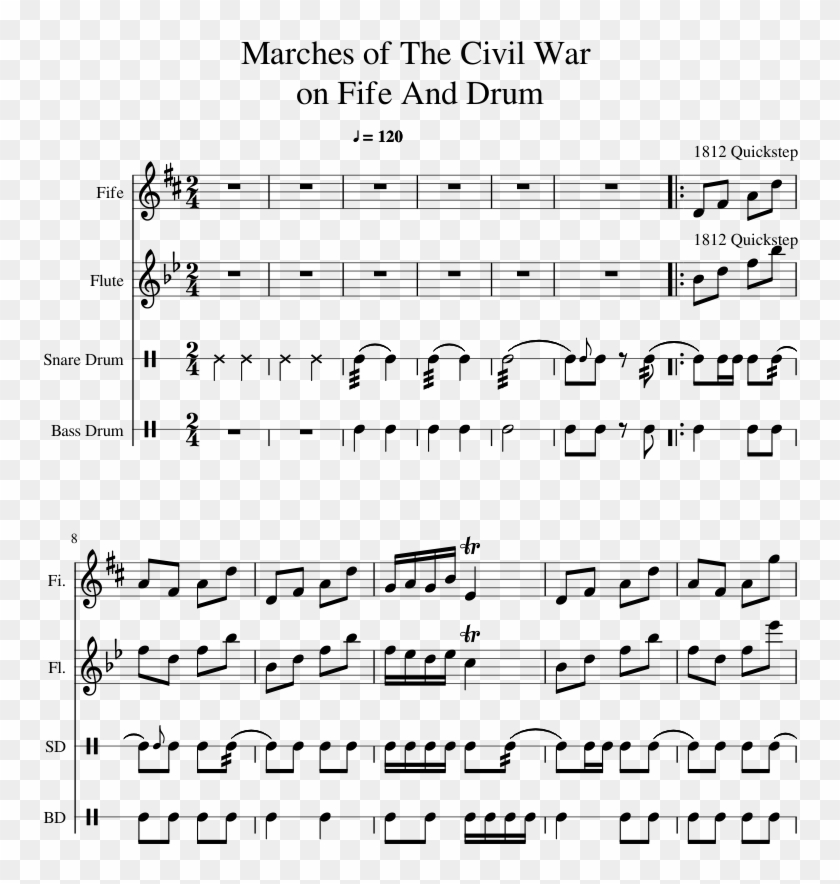 Marches Of The Civil War On Fife And Drum Sheet Music