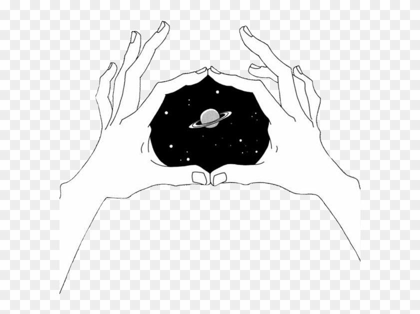 Grunge Space Aesthetic Hands Tumblr Drawing Planet простые черно