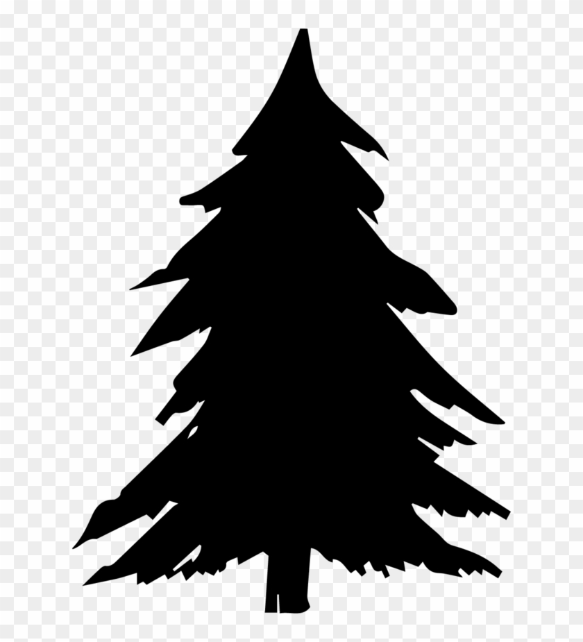 Pine Trees Silhouette Png - Black Christmas Tree Clipart, Transparent Png