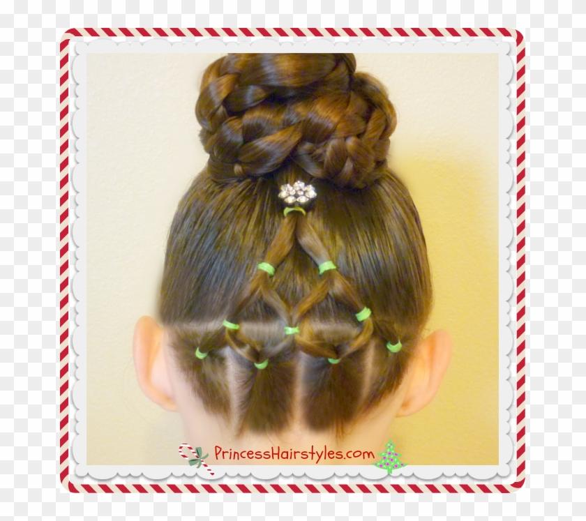 Elastic Christmas Tree Hairstyle And Bun Video Tutorial Christmas