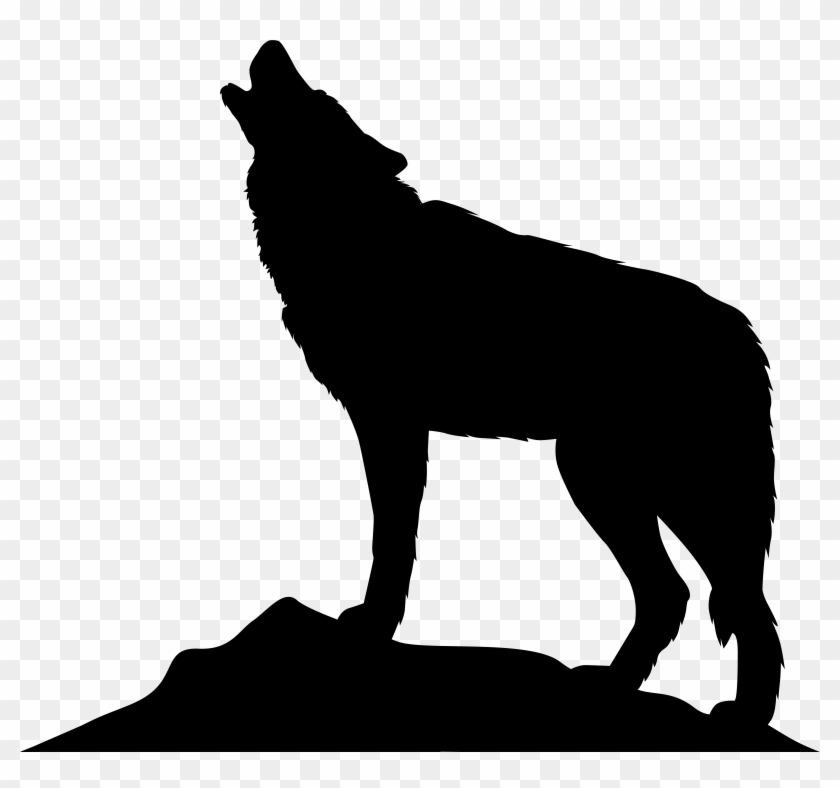 Wolf silhouette. Clip art stock howling