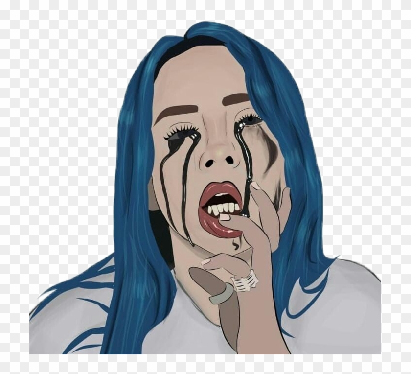40a1b3226 Gif Crying Sad Aesthetic Cartoon Drawings Png Gif Crying - Billie Eilish  Party's Over, Transparent