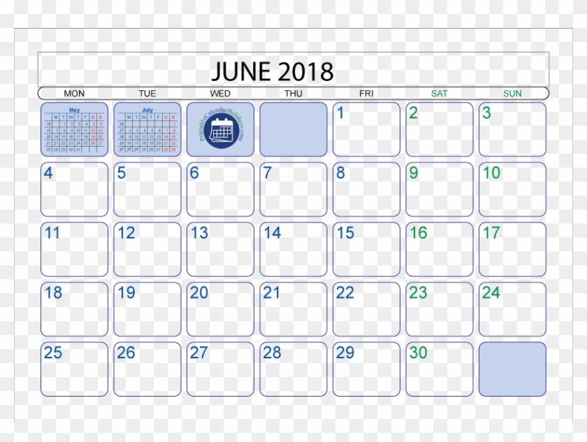 Jpg Transparent Stock Moon Phases - Calendar June 2018 With
