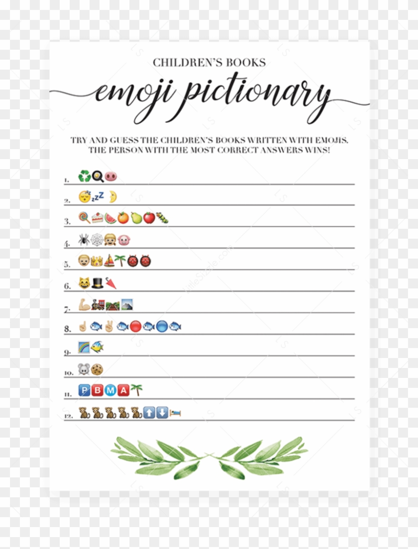 photo about Emoji Bridal Shower Game Free Printable named Printable Emoji Pictionary Little one Shower Game titles Quick - Emoji