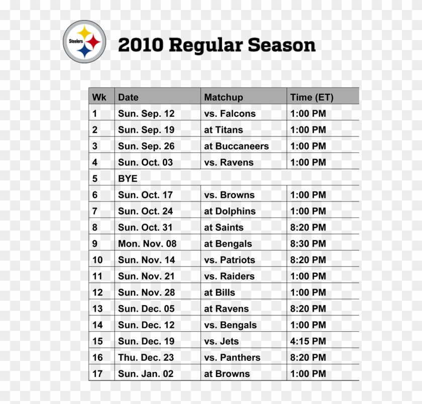graphic relating to Printable Steelers Logo referred to as Pittsburgh Steelers Emblem 2010 Printable Routine - Timetable