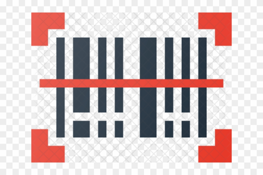 Barcode red. Clipart square scan icon