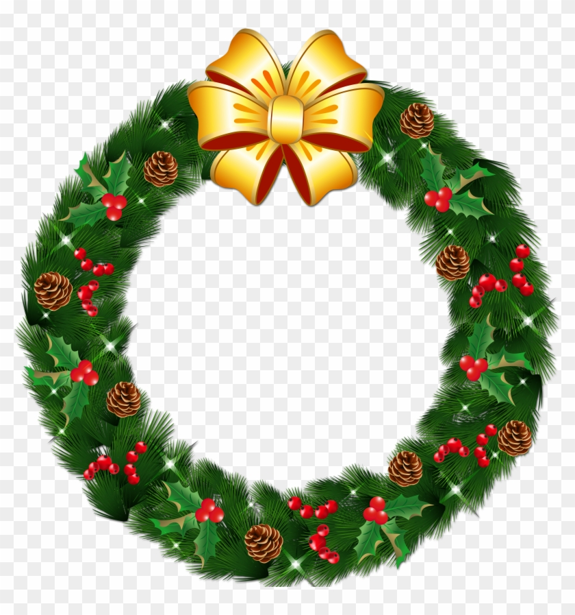 Transparent Christmas Pine Wreath With Gold Bow Png Christmas