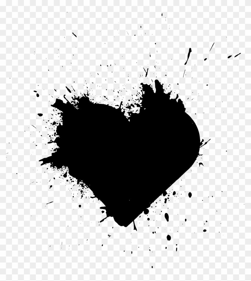 Free Download - Black Heart Paint Splash, HD Png Download