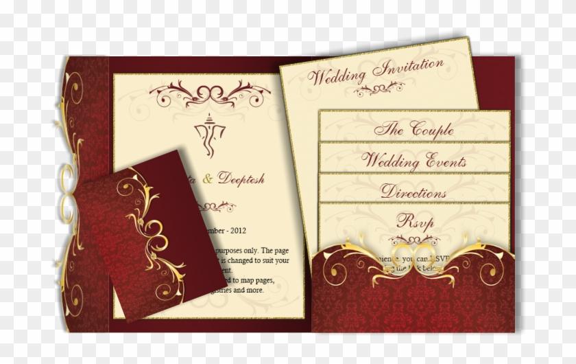 Email Card Pocket Fold Design Luxury Indian Wedding Cards