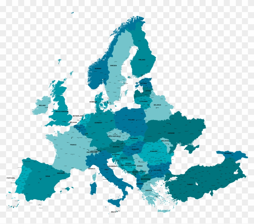 Spain Map Of Europe.Graphic Vector Map Europe Map Of Europe With Spain Highlighted Hd