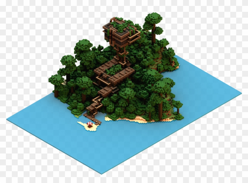 Isometric Floating Island Minecraft Pixel Art House Hd Png Download 1600x900 3198370 Pngfind