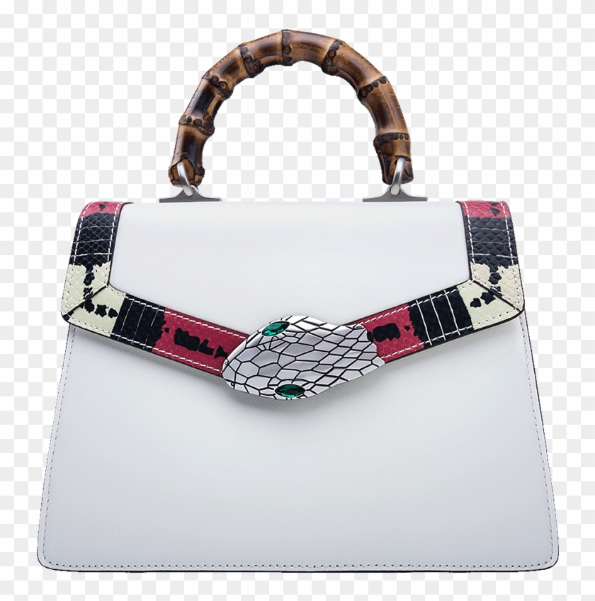 fd39c771718ccd Gucci Snake Pattern Leather Bamboo Top Handle Bag - Handbag, HD Png Download