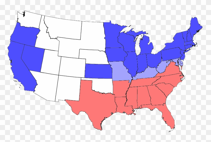 Usa Map Png - Southern States And Northern States ...