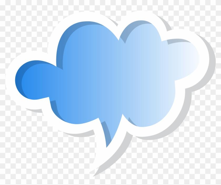 Speech bubble cloud. Blue png clip art
