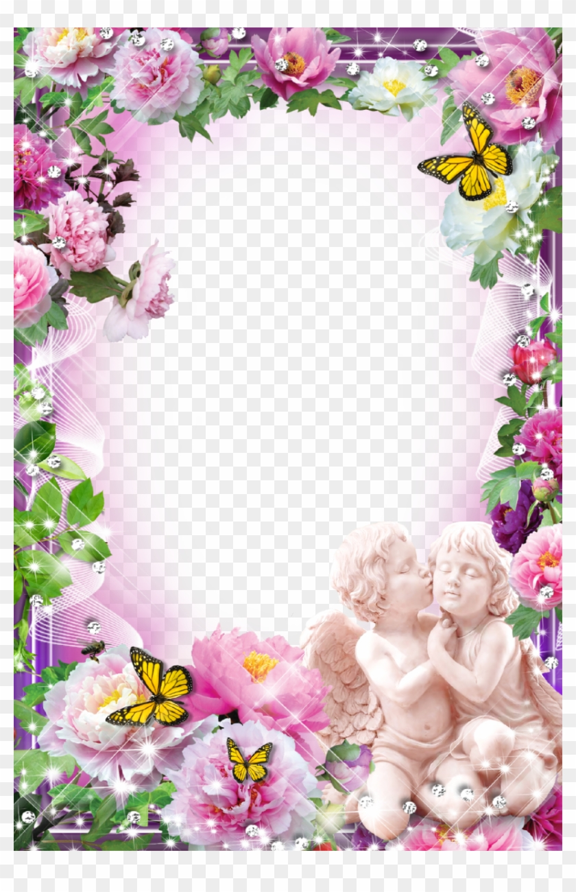 Flower With Angels - Flowers Frame For Photoshop, HD Png Download