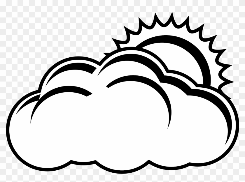 Sun And Cloud Vector Free Library Png Black And White - Black And