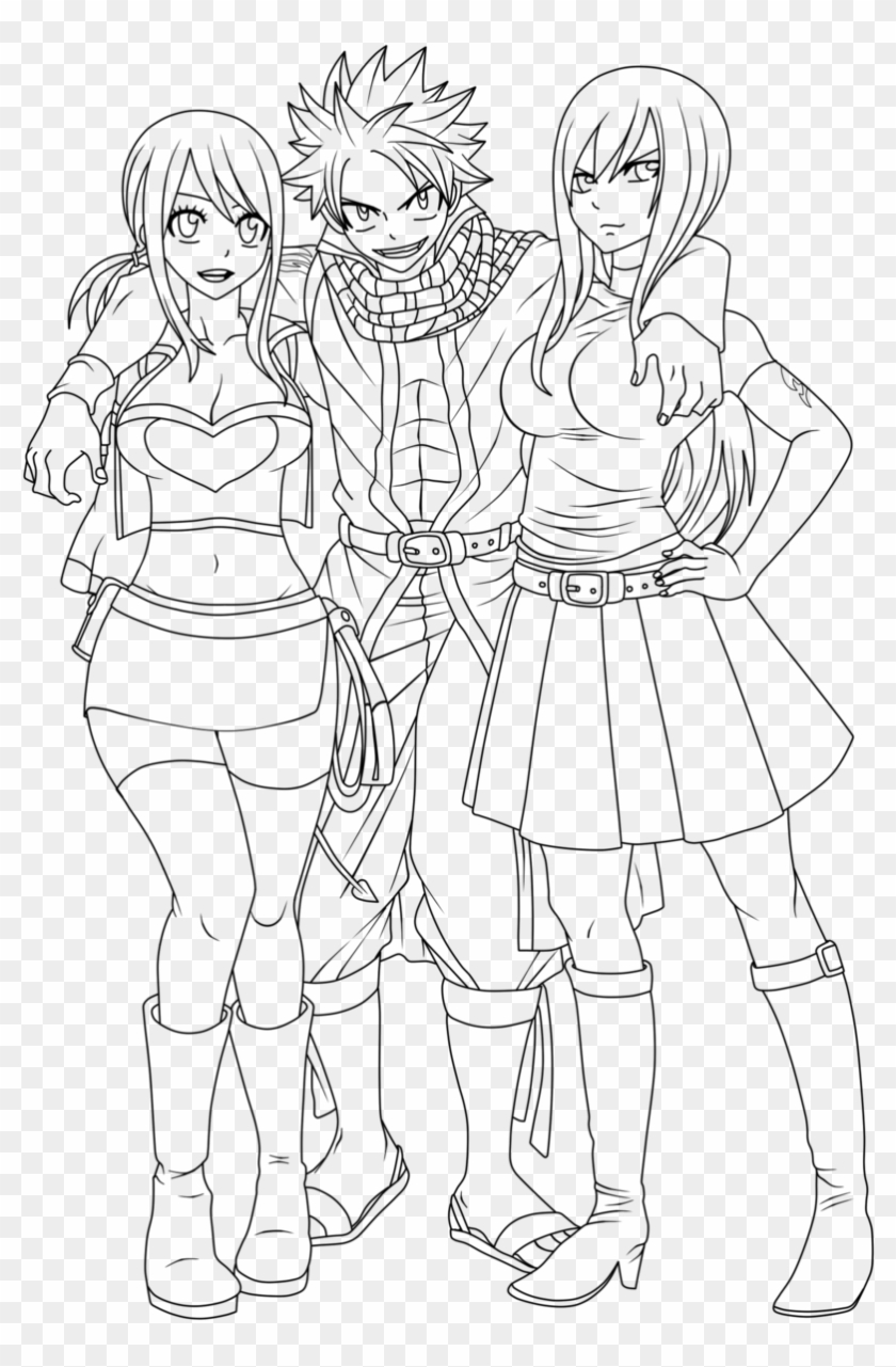 Fairy Tail Lineart Natsu With Lucy And Erza By Natsu9555