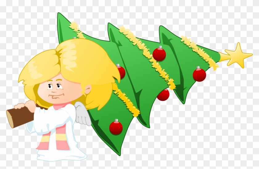 Christmas Angel Png Clipart Png Mart Angel With Christmas Tree Free Clipart Transparent Png 2400x1454 352420 Pngfind