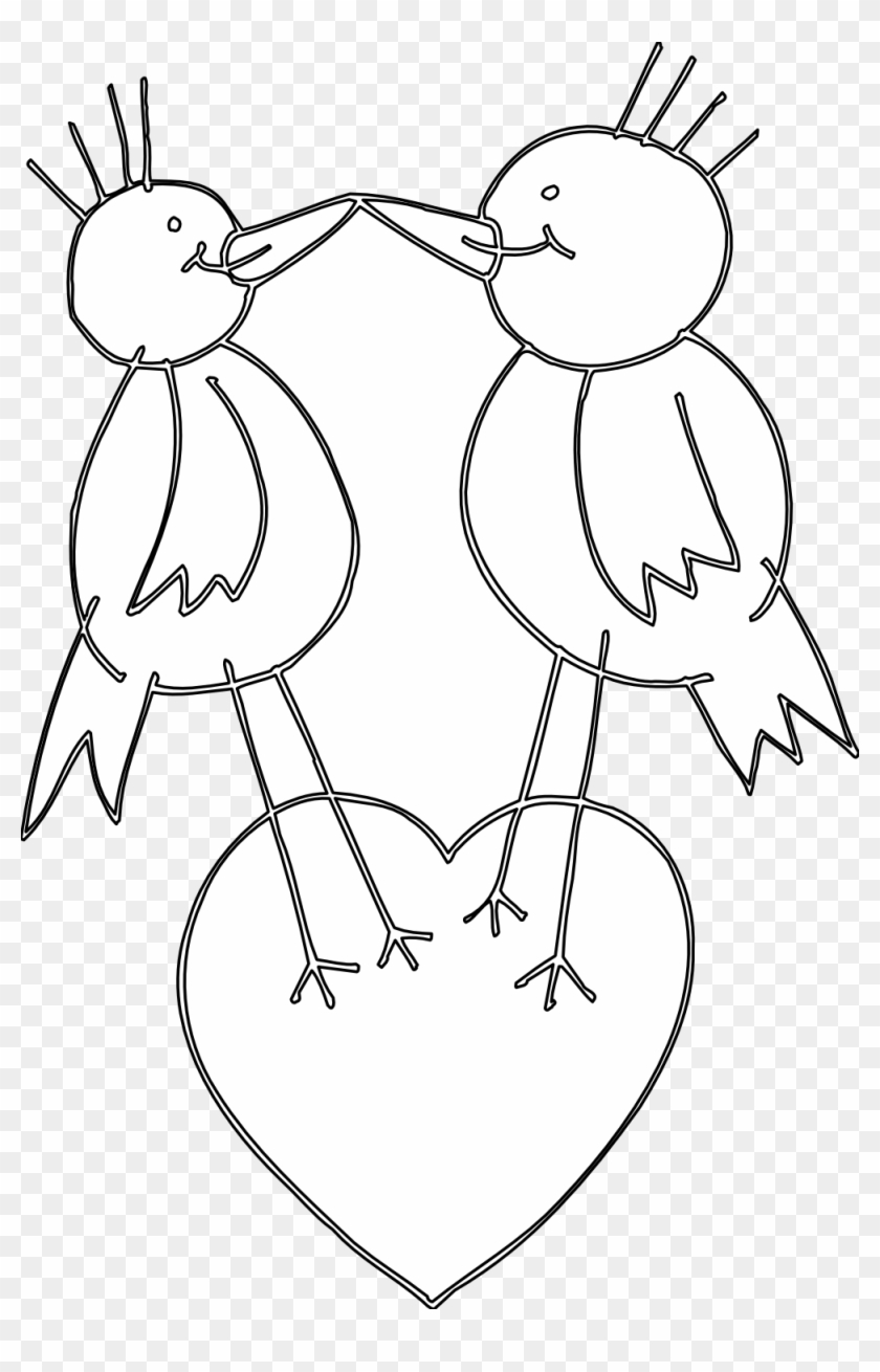 Love Birds Clipart Black And White - Cartoon, HD Png Download
