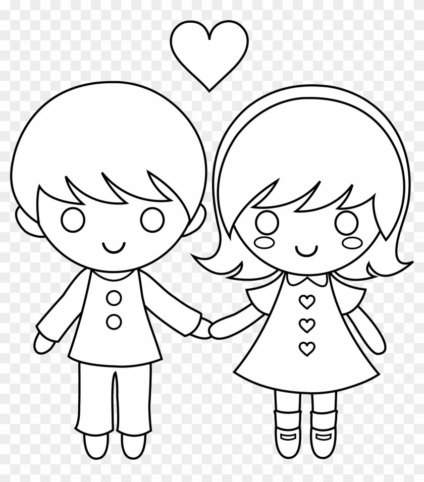 Drawings of girls boy. Banner stock anime clipart