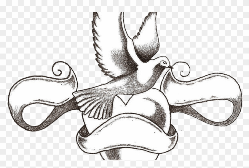 Dove Tattoo With Heart And Ribbon Banner Tattoos Pinterest Sketch Of Love Heart Tattoo Hd Png Download 1368x855 3599176 Pngfind