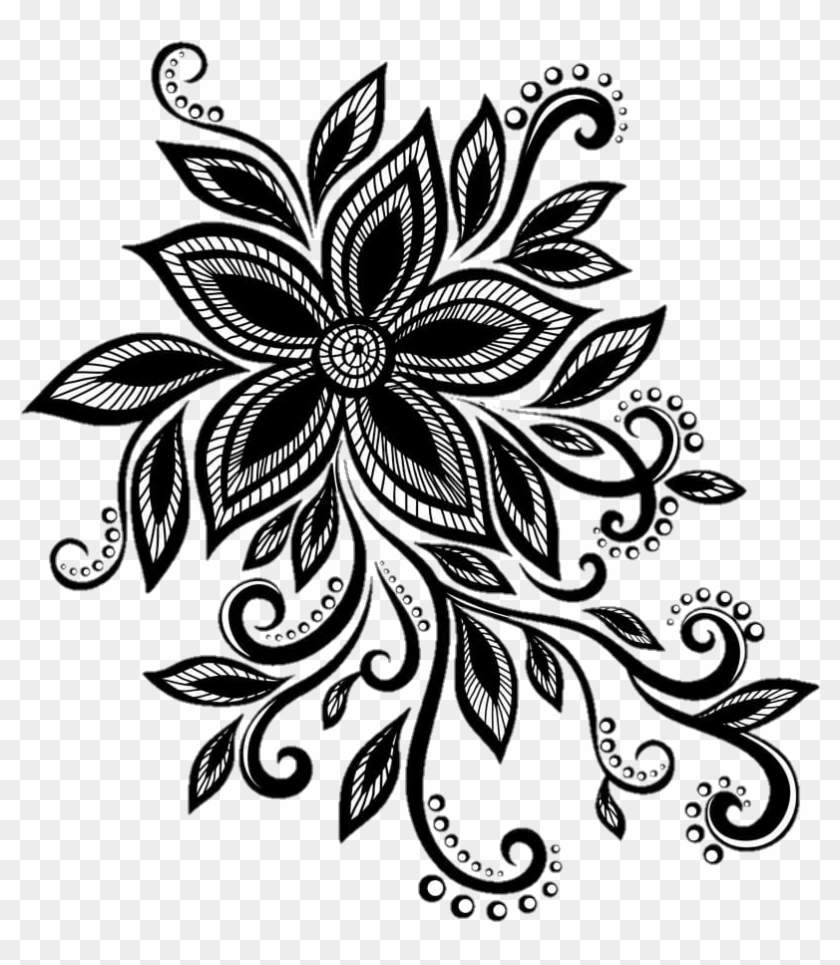 Lace Black Design Flower Cute Pretty Blacklace And White Sketch Hd Png Download 820x909 3626996 Pngfind