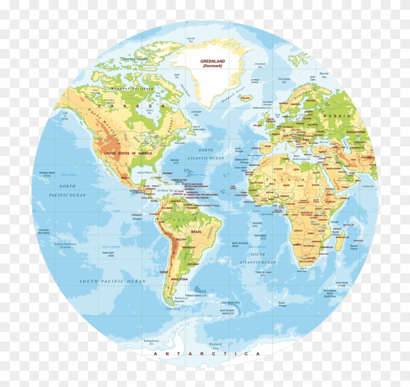 Map Of The World Simple.Round Map Of The World Simple Design Polypropylyn Physical World