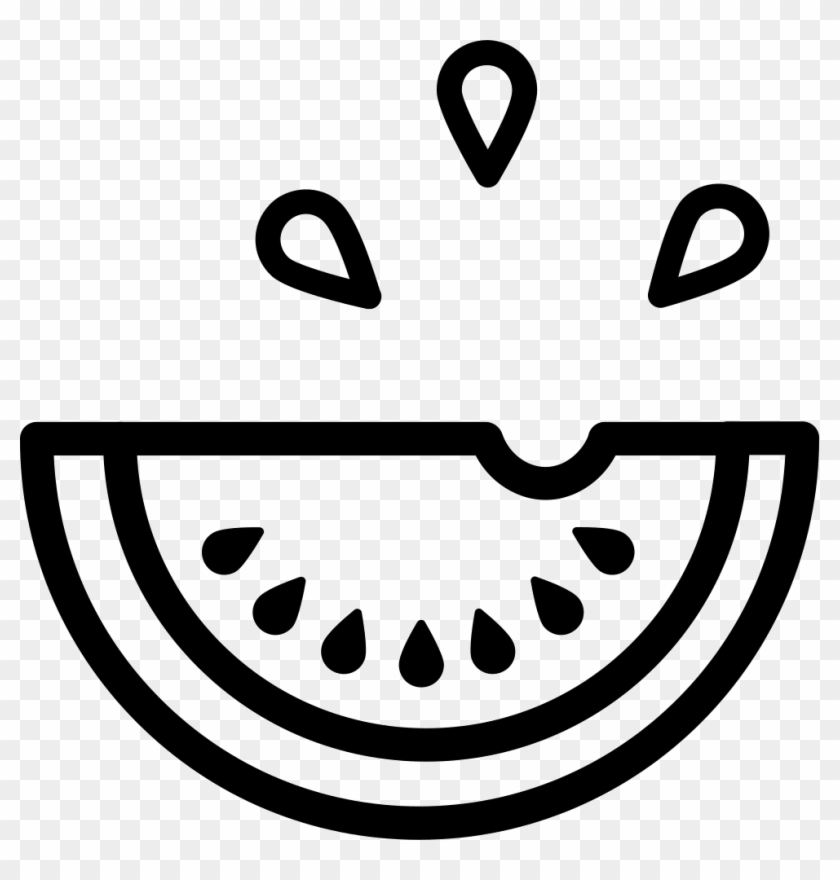 Watermelon Fruit Slice Outline With Drops Comments Watermelon Vector Black And White Hd Png Download 981x982 3787177 Pngfind