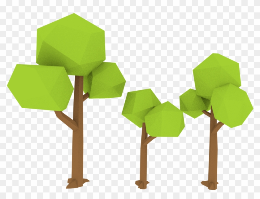Low Poly Trees 3d Model - Low Poly Tree Blender Download, HD Png