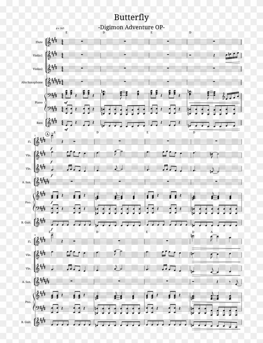 Butterfly Digimon Adventure Op Sheet Music For Flute, - Butterfly