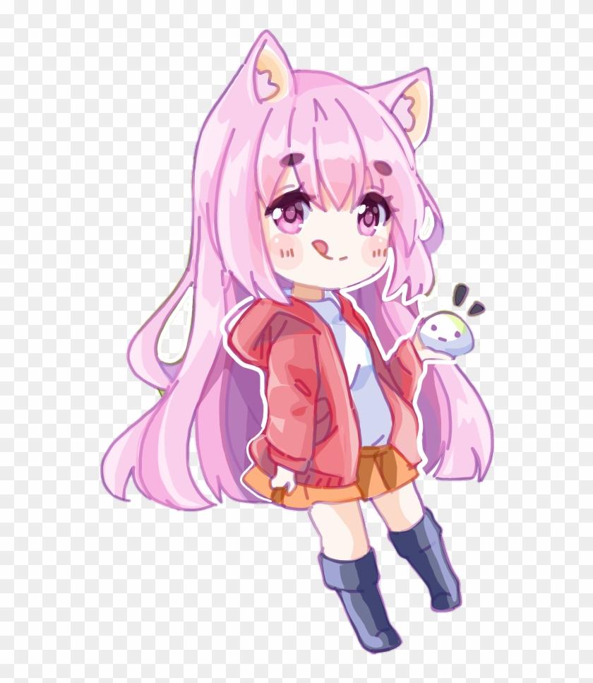 Girl Catgirl Cat Pink Chibi Anime Drawing Cute
