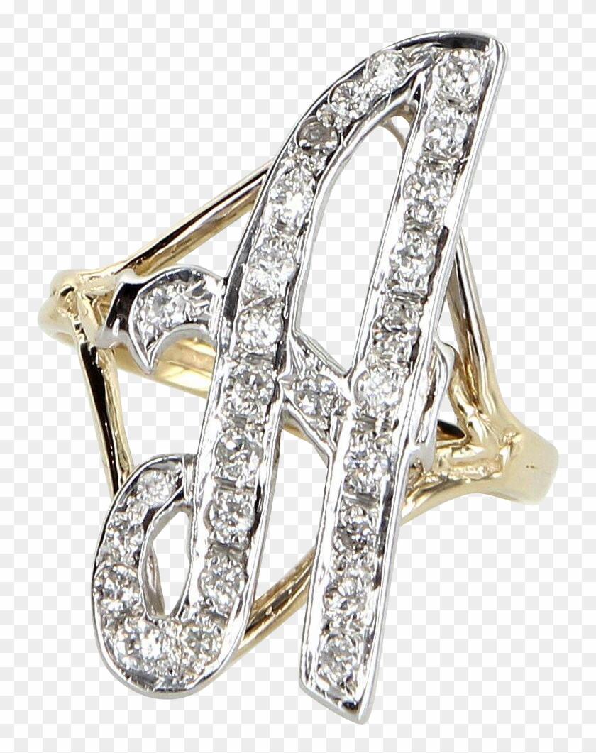 Large Letter A Diamond Initial Script Ring Vintage
