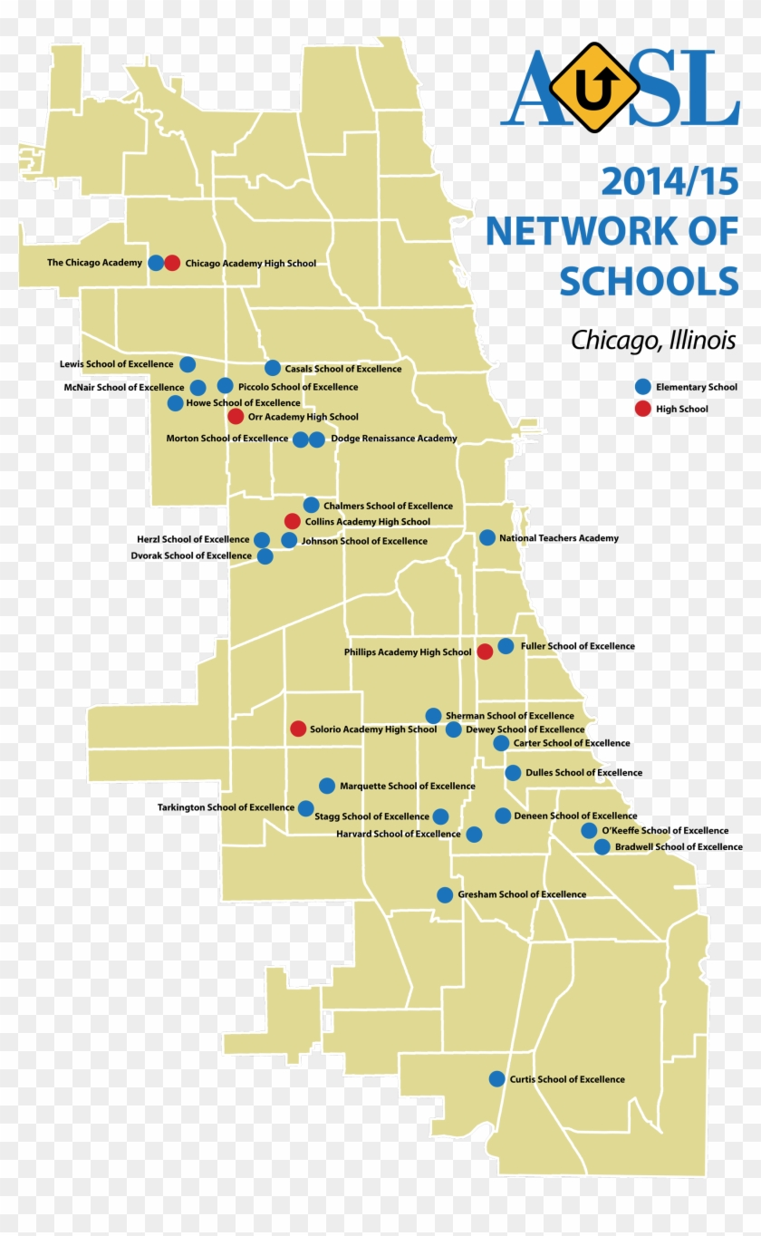 Ausl Network Of Schools Map - Chicago Crime Map 2018, HD Png ...
